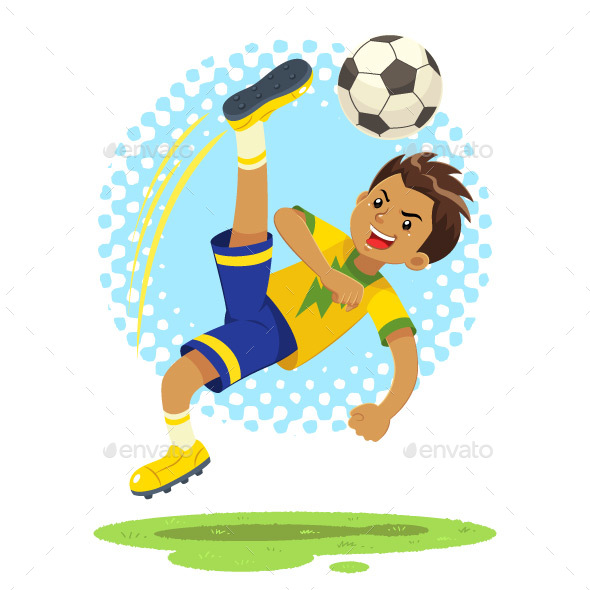 Soccer Boy Kicks Ball Using Bicycle Kick Technique - Sports/Activity Conceptual