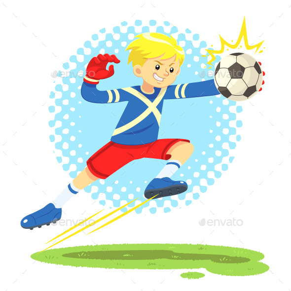 Soccer Boy Jumps Aside to Catch The Ball - Sports/Activity Conceptual