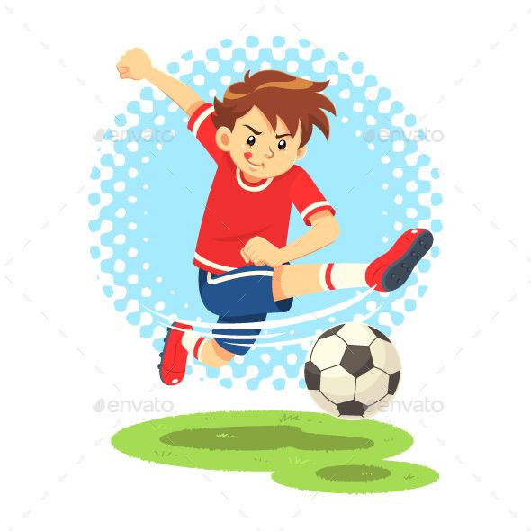 Soccer Boy Shooting The Ball to Make a Goal - Sports/Activity Conceptual