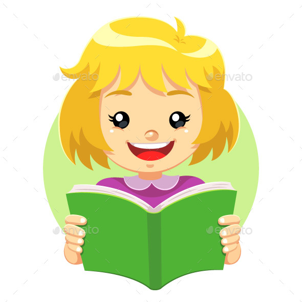 Girl Reading a Green Book - People Characters