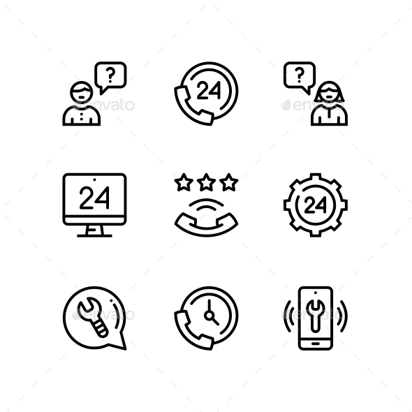 Support, Service, Help Simple Line Icons for Web and Mobile Design Pack 3 - Icons
