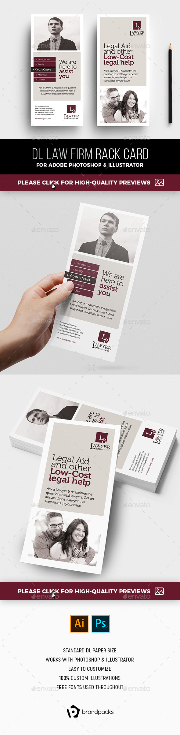Law Firm Rack Card Template - Corporate Flyers