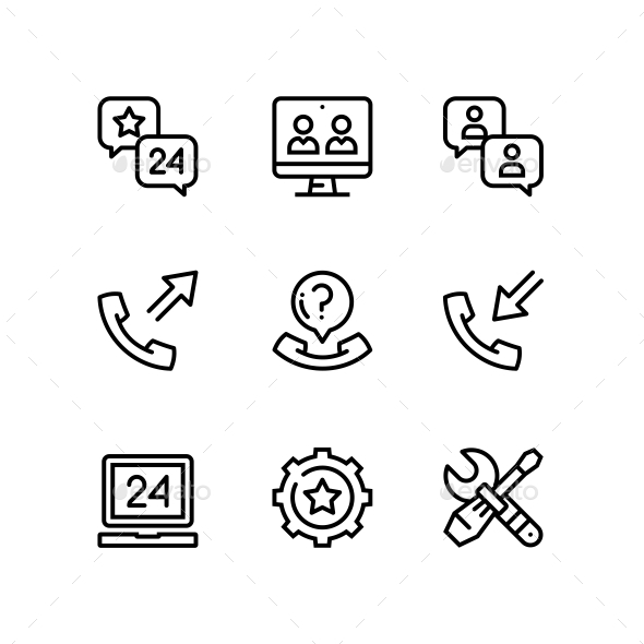 Support, Service, Help Simple Line Icons for Web and Mobile Design Pack 5 - Icons
