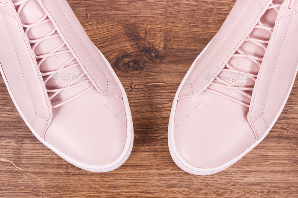 Womanly leather shoes on board - Stock Photo - Images