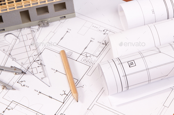 Electrical diagrams, accessories for use in engineer jobs and house under construction - Stock Photo - Images