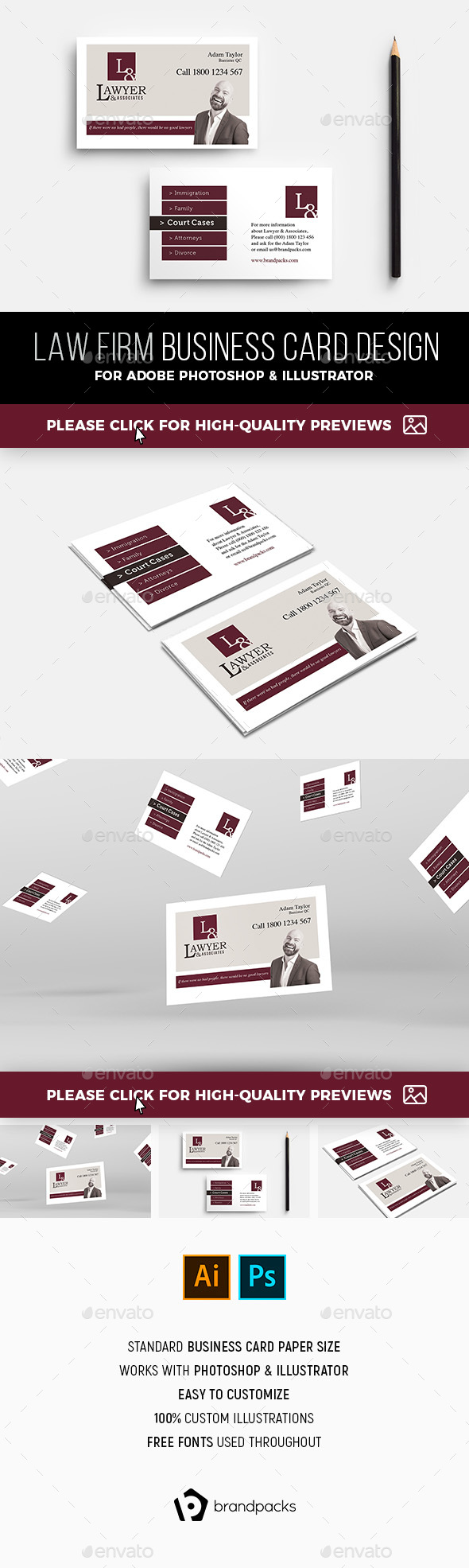 Law Firm Business Card Template by BrandPacks | GraphicRiver