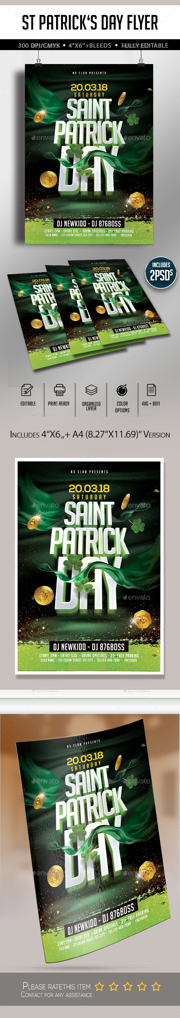 St Patrick's Day Flyer - Clubs & Parties Events