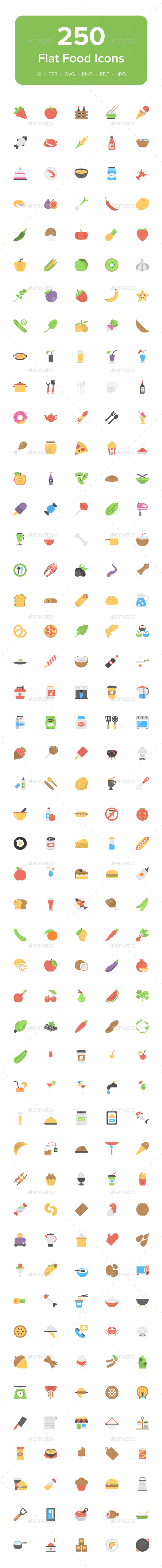 250 Food Flat Vector Icons - Icons