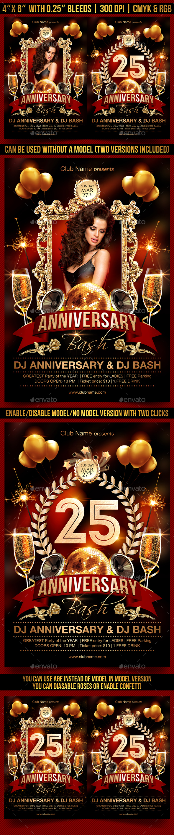 Anniversary Bash Flyer Template - Clubs & Parties Events