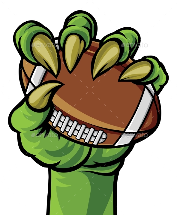 Claw Monster Hand Holding a Football Ball - Sports/Activity Conceptual