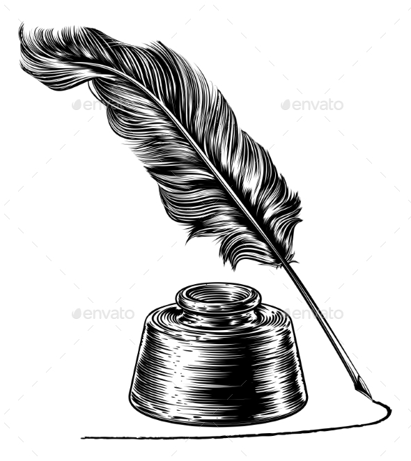 Quill And Inkwell Drawing Writing Quill F...