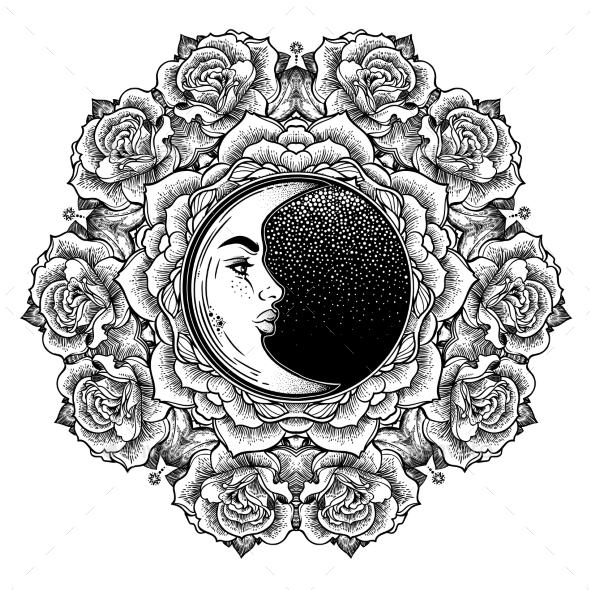 Fashion Boho Roses Flower Crescent Moon Mandala. - Flowers & Plants Nature