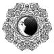 Fashion Boho Roses Flower Crescent Moon Mandala.