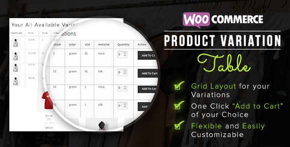 Woocommerce Table View For Variations - CodeCanyon Item for Sale