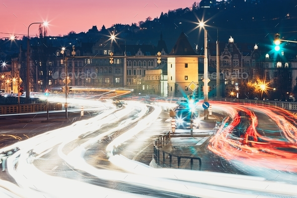 Crossroad at the dusk - Stock Photo - Images