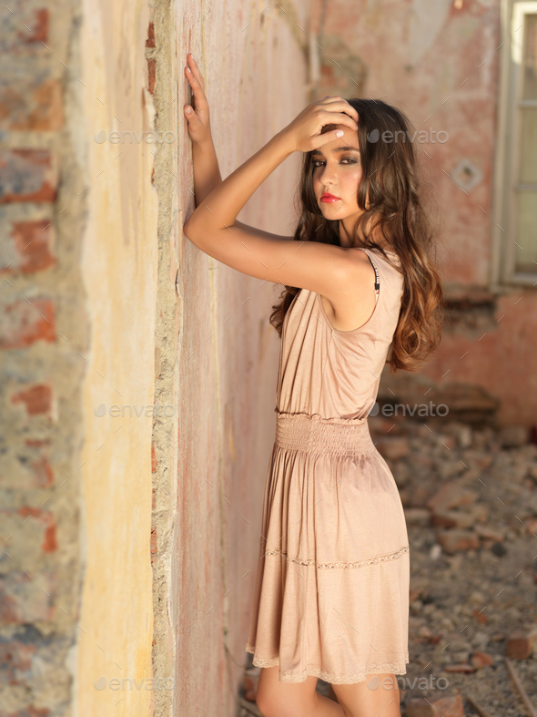 vintage fashion portrait young woman old house - Stock Photo - Images