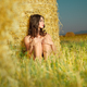 beautiful nude woman sitting near hay stack - PhotoDune Item for Sale