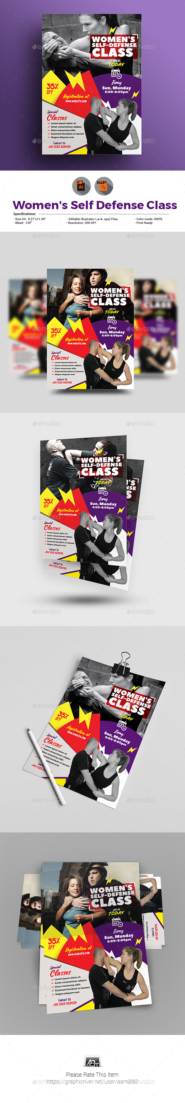 Women's Self Defense Class Flyer - Miscellaneous Print Templates