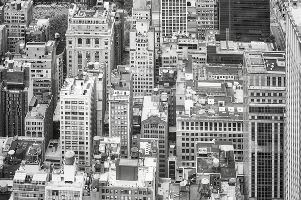 New York City black and white aerial picture, USA. - Stock Photo - Images