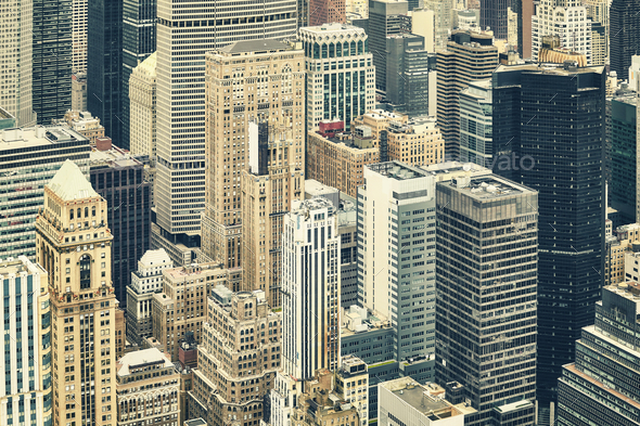 Retro toned aerial picture of the New York City. - Stock Photo - Images