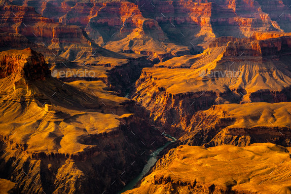 Landscape detail view of Grand canyon and Colorado river, USA - Stock Photo - Images