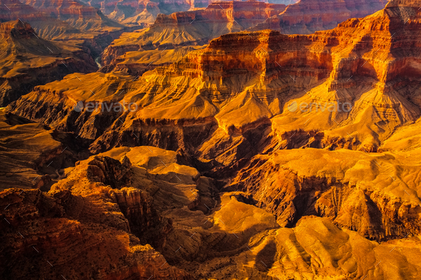 Landscape detail view of Grand canyon, Arizona - Stock Photo - Images