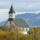 Old Traditional Icelandic Building in a Park in Autumn Day in Background of Mountain - VideoHive Item for Sale