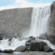 Oxararfoss Waterfall in a National Park Thingvellir in Iceland in Cloudy Day - VideoHive Item for Sale