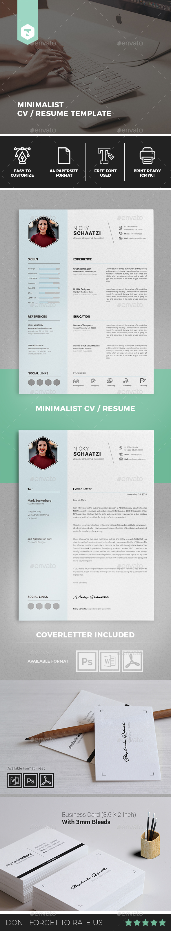 Minimalist CV / Resume - Resumes Stationery