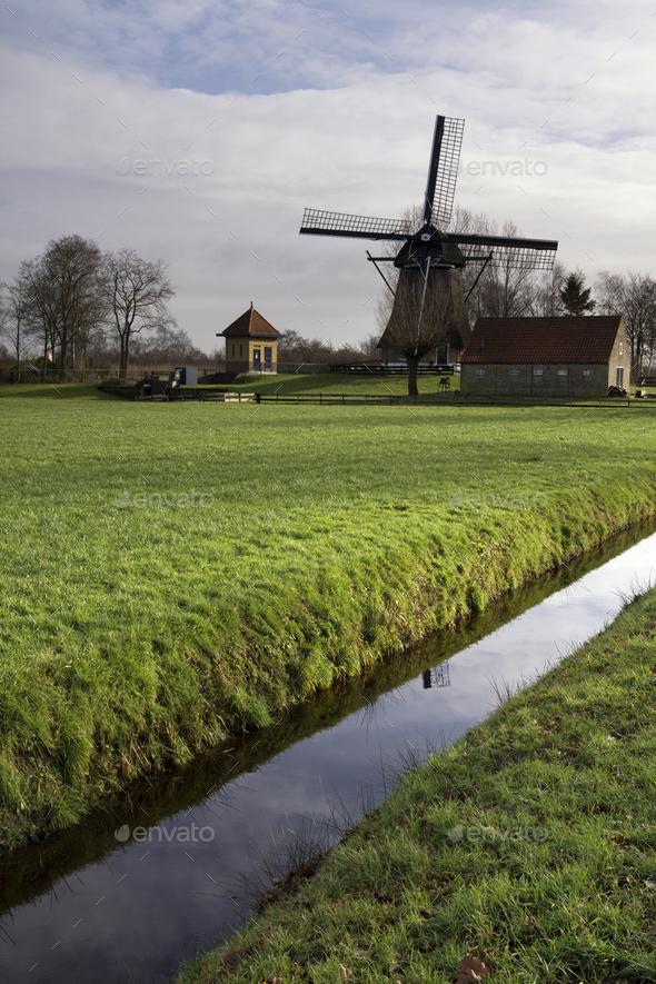 Windmill De Hersteller at Sintjohannesga - Stock Photo - Images