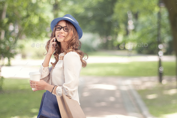 Talking and smiling. - Stock Photo - Images