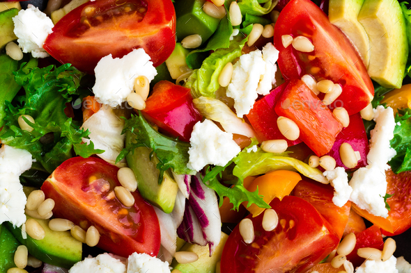 Vegetable dish, salad with feta cheese - Stock Photo - Images
