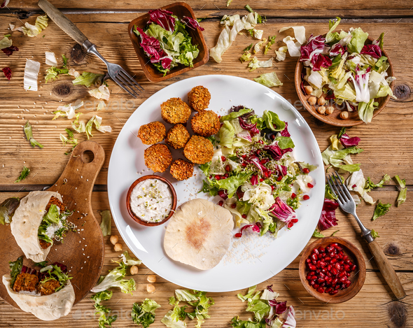 Plate of traditional falafel patties - Stock Photo - Images