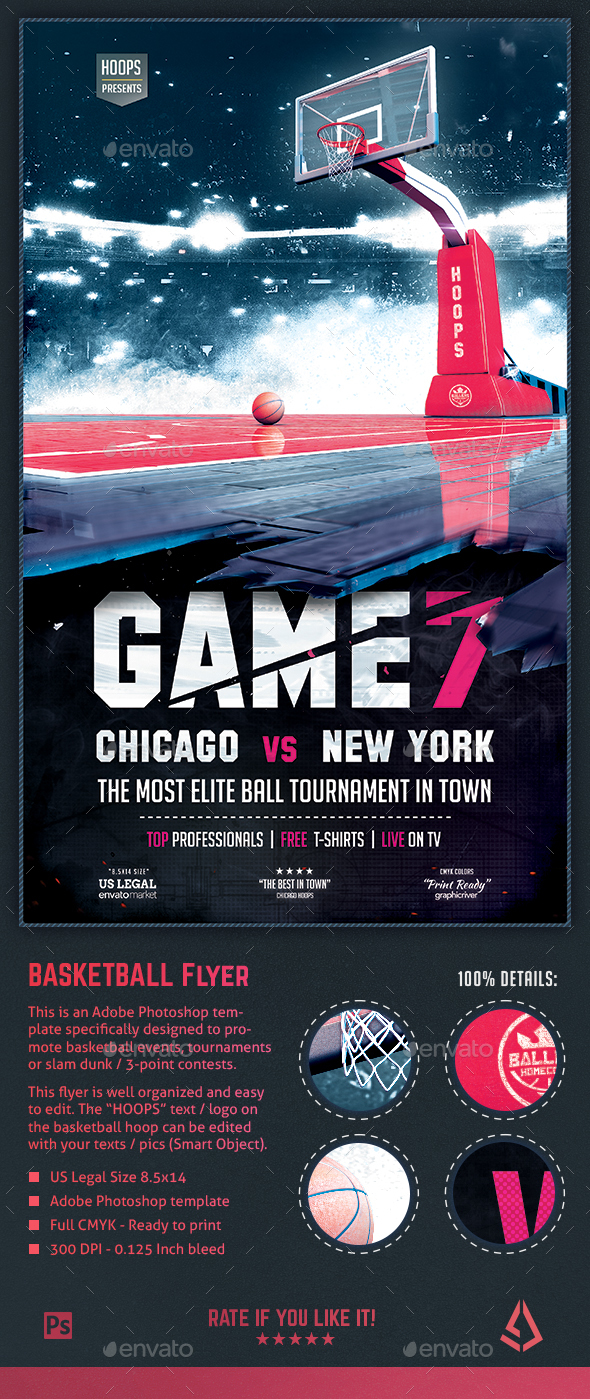 Basketball Flyer - Game 7 Hoops Tournament 8.5x14 Design Template - Sports Events