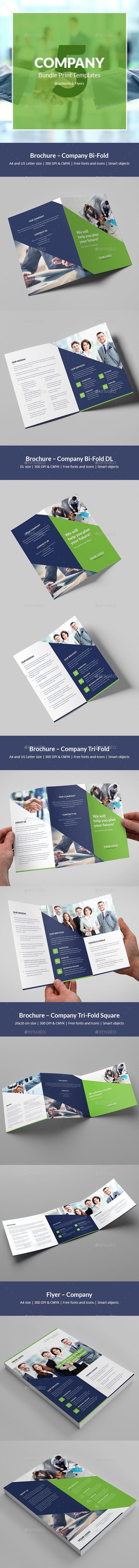 Company – Brochures Bundle Print Templates 5 in 1 - Corporate Brochures