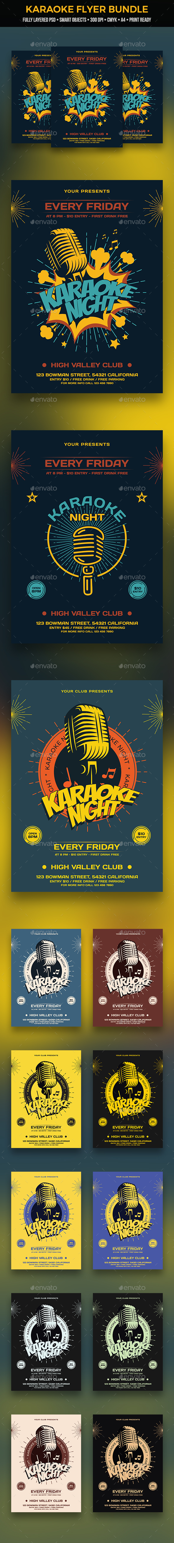 Karaoke Flyer Bundle - Clubs & Parties Events