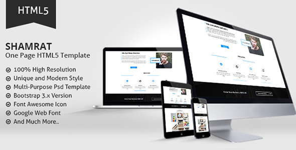 Shamrat One Page HTML5 Template - Corporate Site Templates