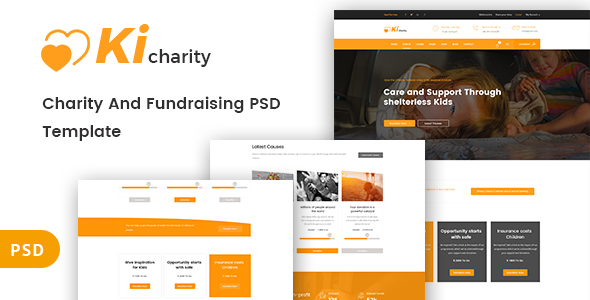 Kicharity - Charity and  Fundraising PSD Template - Nonprofit PSD Templates
