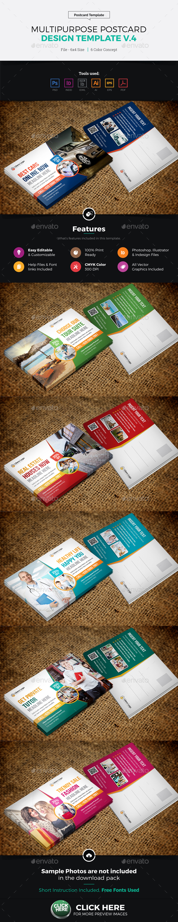 Postcard Design Template v4 - Cards & Invites Print Templates