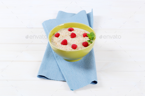 bowl of oatmeal porridge - Stock Photo - Images