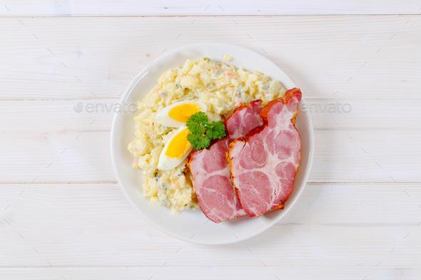 smoked pork with potato salad - Stock Photo - Images