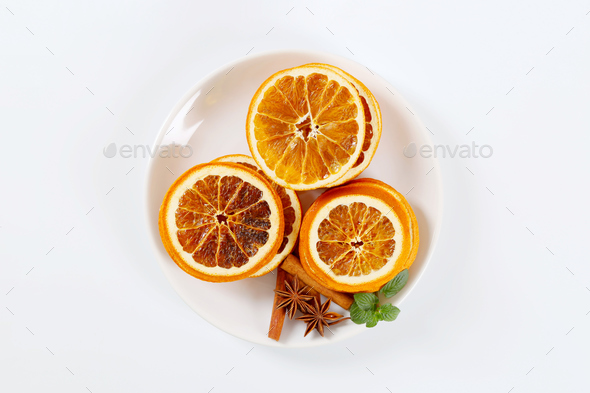 dried orange slices with spices - Stock Photo - Images