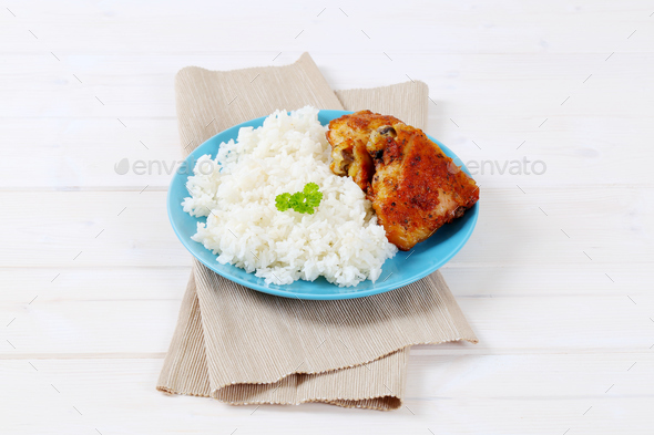 roasted chicken with rice - Stock Photo - Images