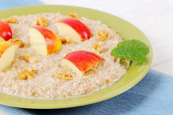 plate of oatmeal porridge - Stock Photo - Images