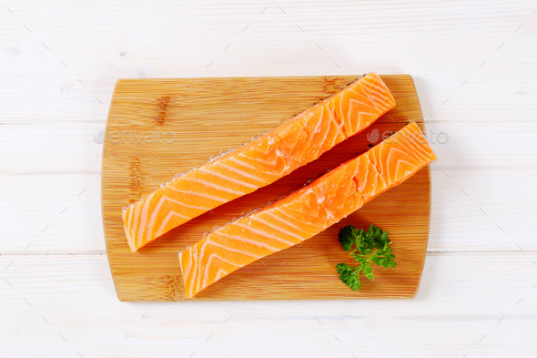 raw salmon fillets - Stock Photo - Images