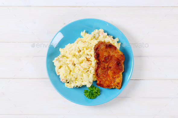 roasted chicken with potato salad - Stock Photo - Images