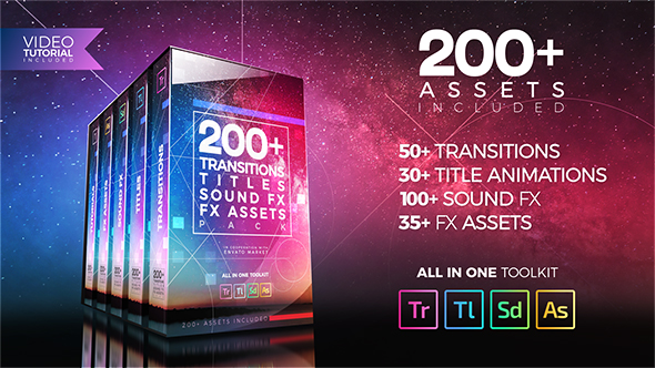 Videohive 200+ Pack: Transitions, Titles, Sound FX 21474240 - Premiere Pro