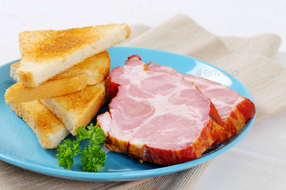 smoked pork with toast - Stock Photo - Images