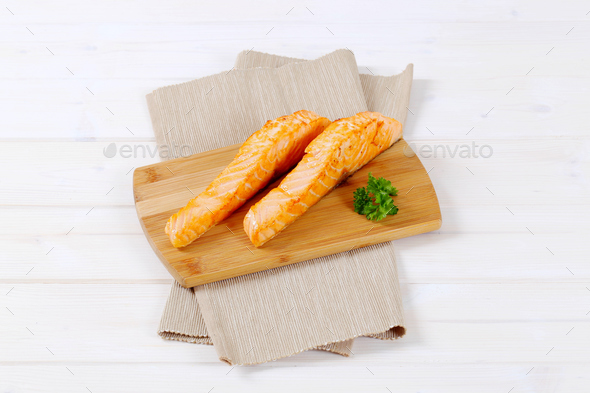 roasted salmon fillets - Stock Photo - Images