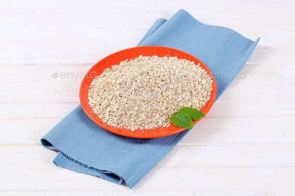 dry rolled oatmeal - Stock Photo - Images